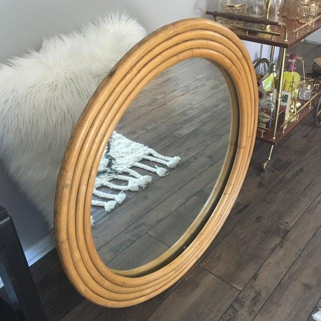 "Rattan Framed Round Mirror 30.5"" - Image 5 of 7"