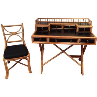 Black Lacquer & Bamboo Campaign Desk & Chair