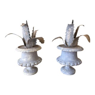 Pair of French Tole Agave Urns
