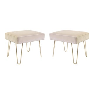 Petite Brass Hairpin Ottomans in Nude Velvet by Montage