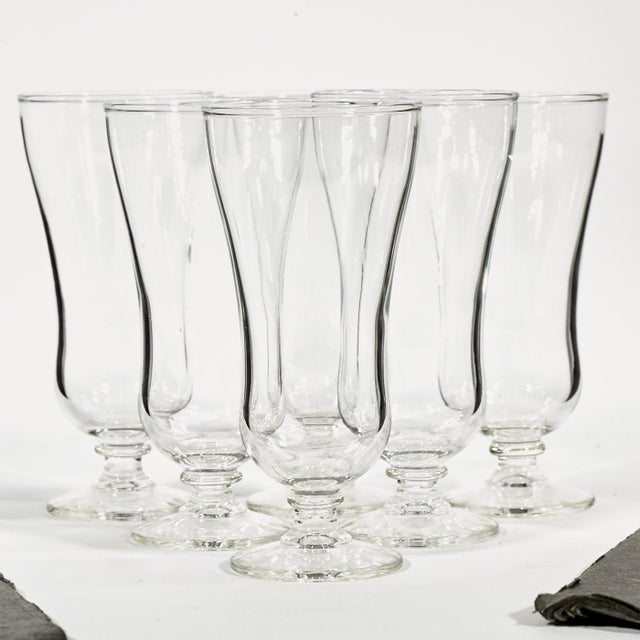Image of 60s Clear Parfait Glass Stems - Set of 6