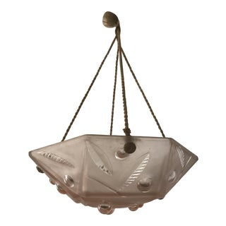 French Art Deco Pink Frosted Glass Pendant or Chandelier .
