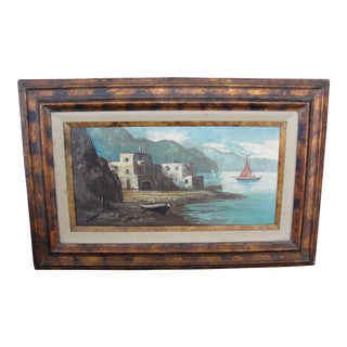 Mid-Century Giorgio Fishing Village Oil on Canvas Painting