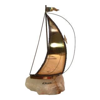 Vintage Brass Sailboat Stone Base Signed De Mott