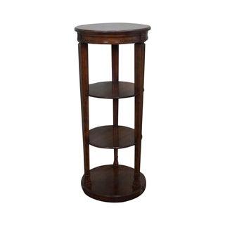 Round French-Style Walnut Etagere Pedestal