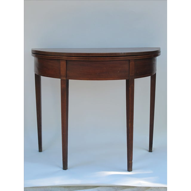 Sheraton-Style Demilune Rosewood Game Table - Image 4 of 11