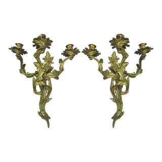 Pair Louis XV Style Gilt Bronze Sconces
