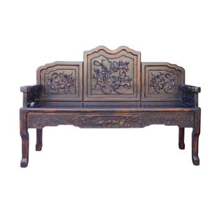 Chinese Floral Double-Seat Bench