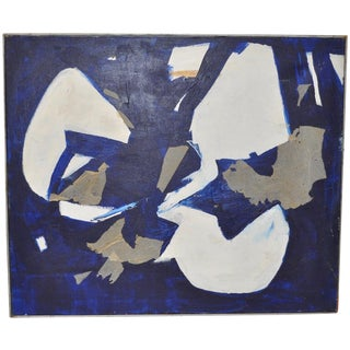 1960s Vintage Mixed Media Abstract Painting