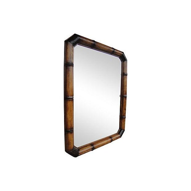 McGuire Faux Bamboo Wood And Leather Mirror - Image 6 of 6