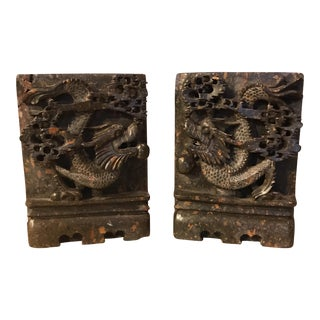 Soapstone Chinese Dragon Bookends - A Pair