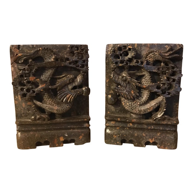 Soapstone chinese dragon bookends a pair chairish - Dragon bookend ...