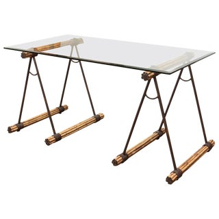 Glass Top Bamboo & Iron Sawhorse Console Desk