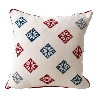 Mexican Blue & Red Crossed Stitched Folk Pillow Case