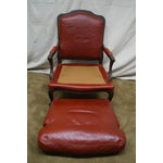 Image of French Louis XV Style Red Leather Lounge Chair
