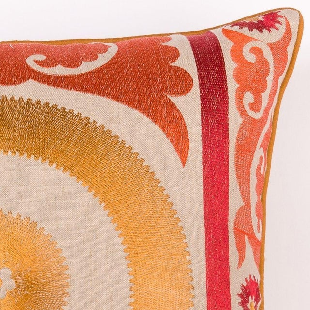 Orange Embroidered Moroccan Pillow - Image 2 of 2