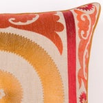 Image of Orange Embroidered Moroccan Pillow