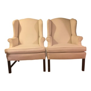 Paul Robert Chippendale Wingback Chairs - a Pair