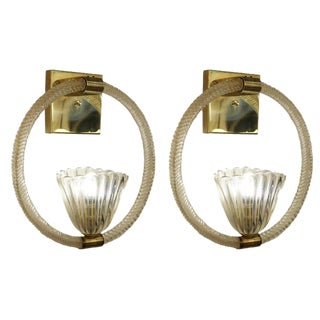 Pair of Large Barovier e Toso Sconces, Italy, 1950s