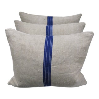 Vintage Linnen Grain Sack Pillows & Blue Stripe - Set of 3