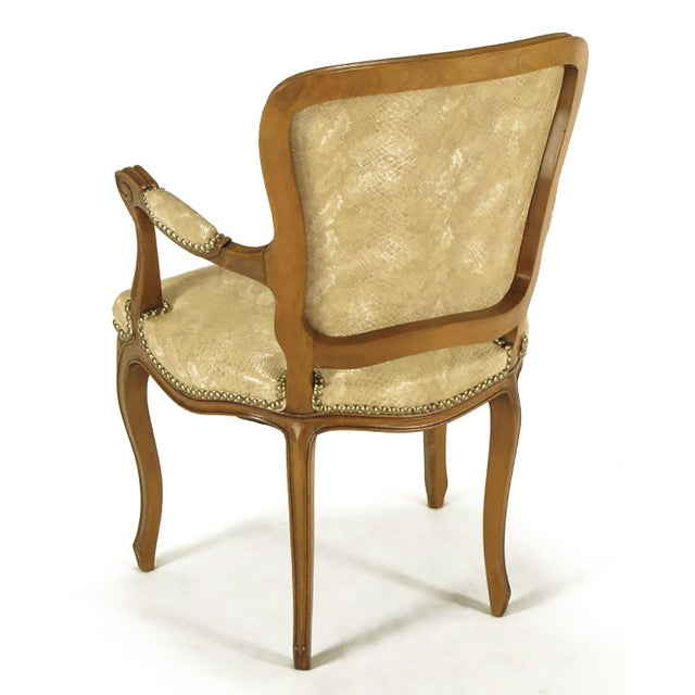 Pair of Walnut Louis XV Style Armchairs in Faux Python - Image 5 of 8