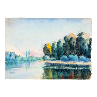 Along the River Double Sided Watercolor by Raoul Monory