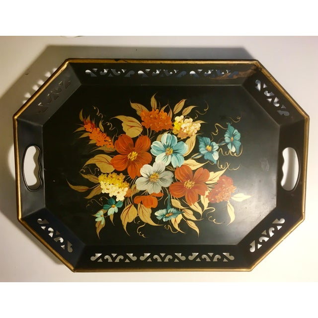 Vintage Black & Floral Serving Tray - Image 2 of 4