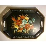 Image of Vintage Black & Floral Serving Tray