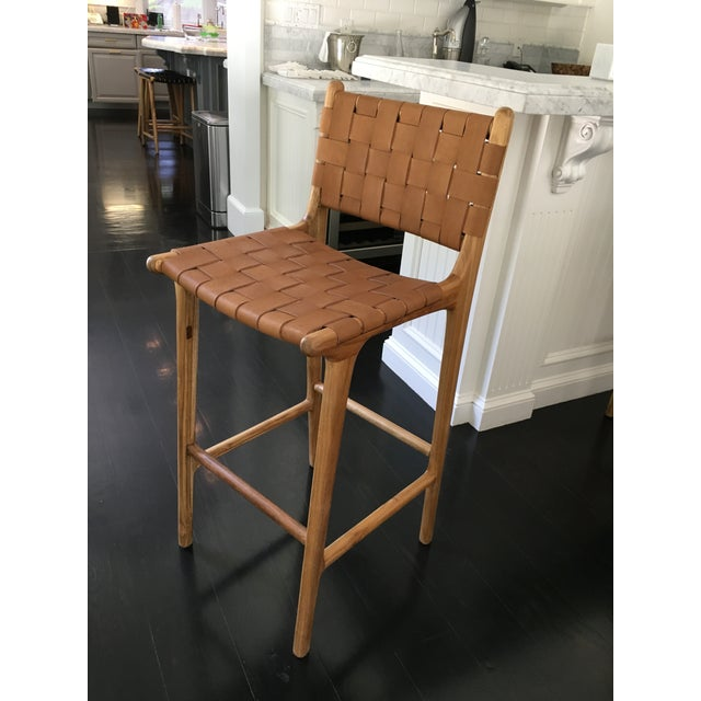 Saffron & Poe Woven Leather Strap Counter Stool - Image 2 ...
