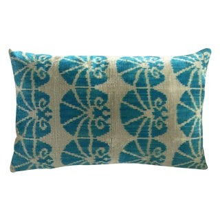 Aqua Silk Velvet Ikat Accent Pillow