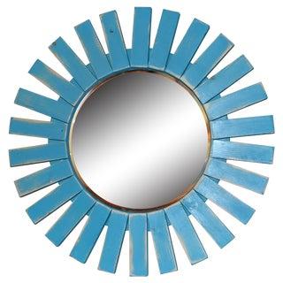 Sunburst Turquoise Wooden Mirror