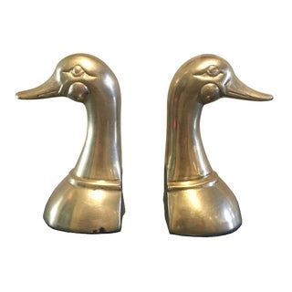 Pair of Vintage Mid Century Brass Mallard Duck Bookends