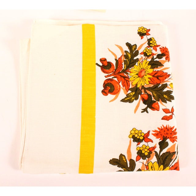 Image of Floral Linen Tablecloth