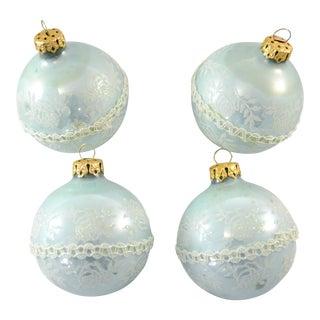Ice Blue Glitter Ornaments - Set of 4