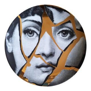 Piero Fornasetti Gold Tema e Variazioni Plate with Image of Lina Cavalieri