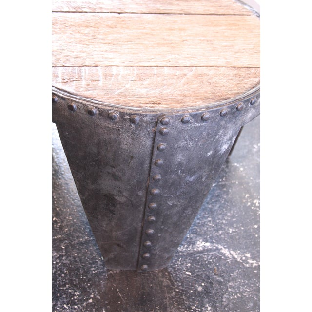 Image of Handmade French Industrial Oak Side Table WWII