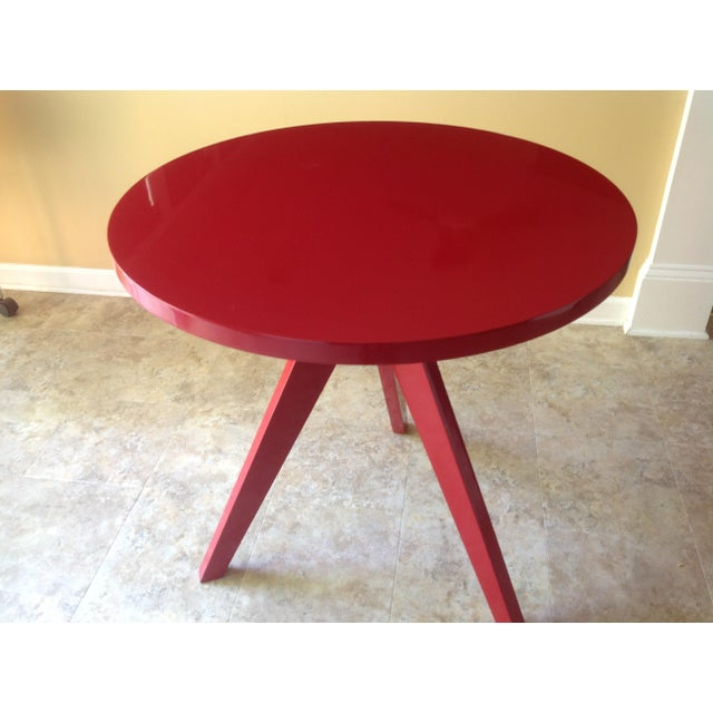 CB2 Modern Red Lacquered Tripod Table - Image 4 of 4