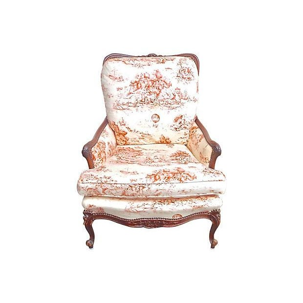 Antique French Toile Fauteuil And Ottoman - Image 4 of 10