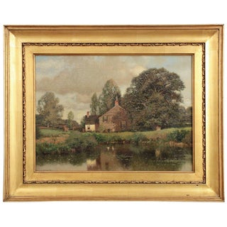 Henry Pember Smith Landscape Painting of Cottage by Lake