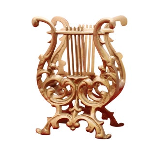 Vintage Gold Cast Metal Footed Lyre Stand