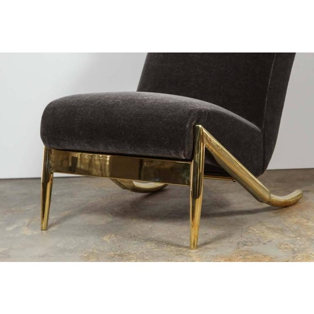 Paul Marra Slipper Chair in Brass with Mohair - Image 3 of 7