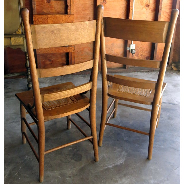 Caned Seat Antique Chairs - A Pair - Image 5 of 6