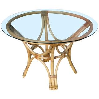 Restored Rattan Bentwood Dining Table with Round Glass Top