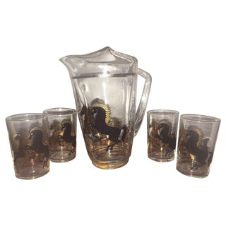 Vintage Arabian Horses Glass Pitcher and Glasses