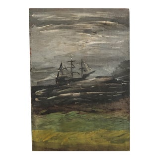 "Vintage ""Ship on a Stormy Sea"" Painting"