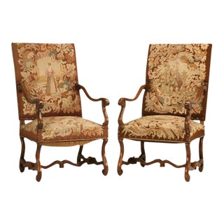 Original Antique French Walnut & Needlepoint Throne Chairs - A Pair