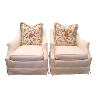 Baker Cream Upholstered Chairs - A Pair