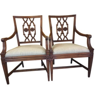 Flower Motif Dining Chairs - A Pair