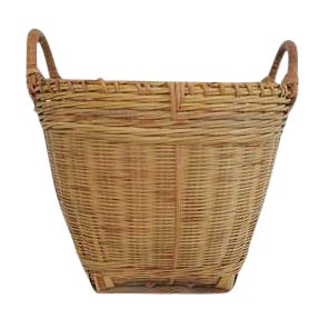 Vintage Small Round Woven Double Handled Basket