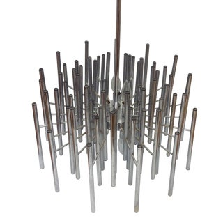 Sciolari-Style Chrome Rod Chandelier